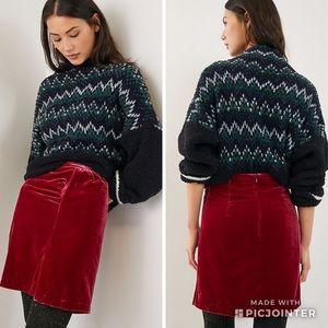 Anthropologie Monti Velvet mini skirt Raspberry
